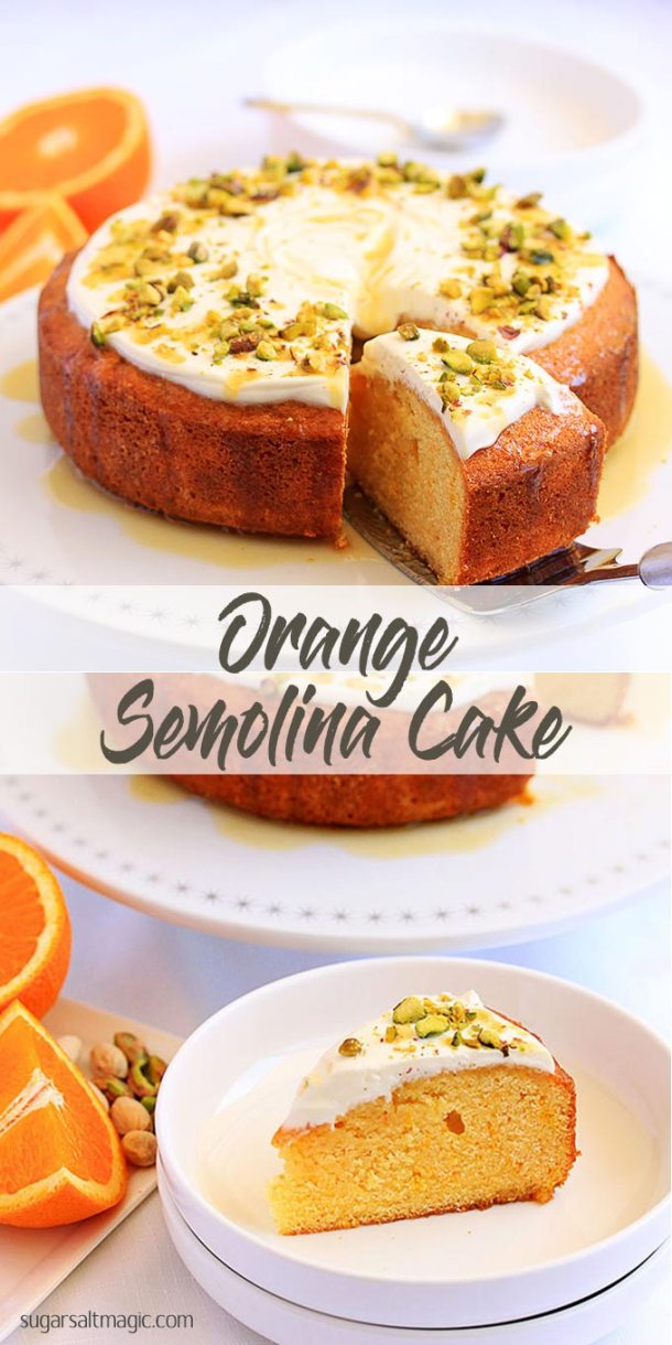 Easy recipe for fresh and zesty Orange Semolina Cake topped off with natural greek yoghurt and pistachios for crunch by Sugar Salt Magic
