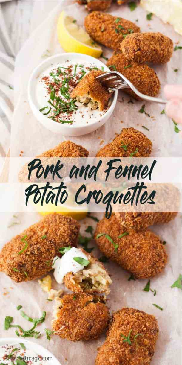 Crispy and golden on the outside, with a soft, tasty centre, these Pork and Fennel Potato Croquettes make a wonderful appetiser, finger food or main course. #gamedayfood #potatocroquettes #fingerfood