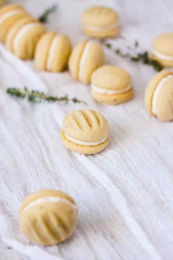 Thyme and Lemon Melting Moments Biscuits use the fabulous combo of lemon and fresh thyme in a buttery shortbread. Total melt in your mouth cookies.