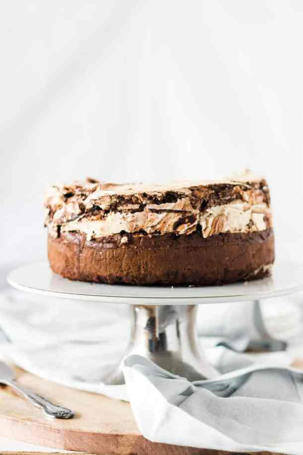Chocolate Meringue Brownie Cake is no ordinary chocolate cake. Using my easy meringue recipe, in this post I'll show you how to make meringue and how to make this indulgent brownie cake.