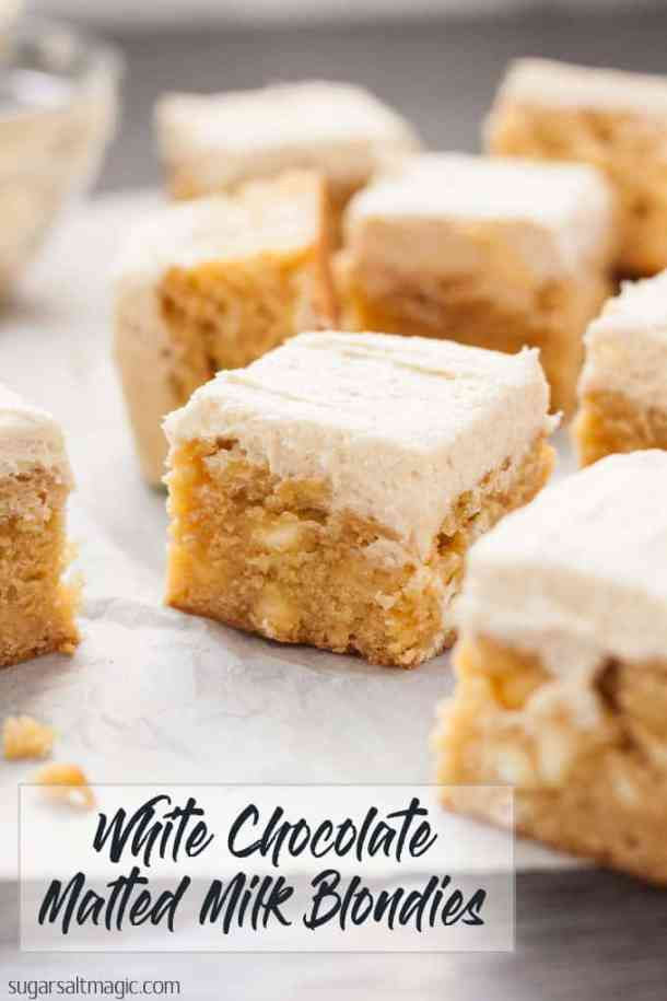 White Chocolate Malted Milk Blondies are a dense, fudgy blondie filled with white chocolate chips and topped with a supremely delicious Malted Milk Buttercream. #sugarsaltmagic #maltedmilkrecipes #blondies #blondierecipes #blondieswhitechocolate  #chocmalt #maltedmilk