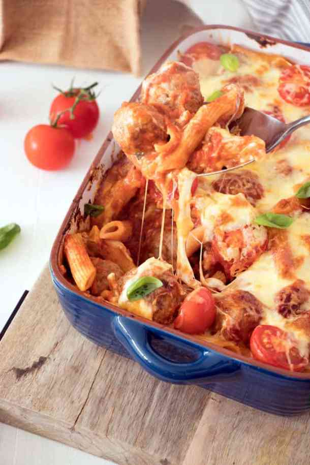 Meatball pasta bake recipe sugar salt magic in the mood for a comforting meatball pasta bake recipe easy beef and pork meatballs in a simple tomato sauce tossed with penne pasta and baked to gooey forumfinder Image collections