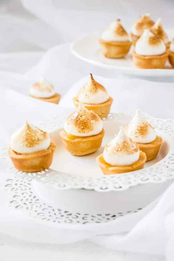 Mini Lemon Meringue Pies are the classic Lemon Meringue Pie in miniature. The perfect sweet finger food recipe that can be assembled at the last minute.