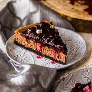 Baked Chocolate Cheesecake Recipe with Blackberry Compote