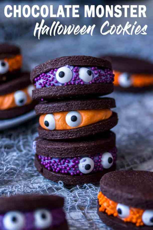Looking for easy Halloween treats? How about my Chocolate Monster Halloween Cookies? Super cute, fun and easy to make chocolate sandwich cookies with coloured vanilla buttercream filling. #sugarsaltmagic #halloweenrecipes #halloweencookies #halloweentreats #halloweendesserts #chocolatecookies #chocolatesandwichcookies #besthalloweenrecipes #besthalloweencookies