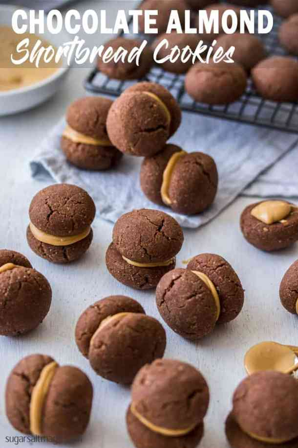 Chocolate Almond Shortbread Cookies are my take on a chocolate Baci Di Dama - Italian shortbread cookies made with ground almonds.