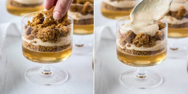 This Gingerbread Trifle is a magical Christmas dessert filled with a ginger ale and sparkling wine jelly, gingerbread cake and butterscotch pudding.