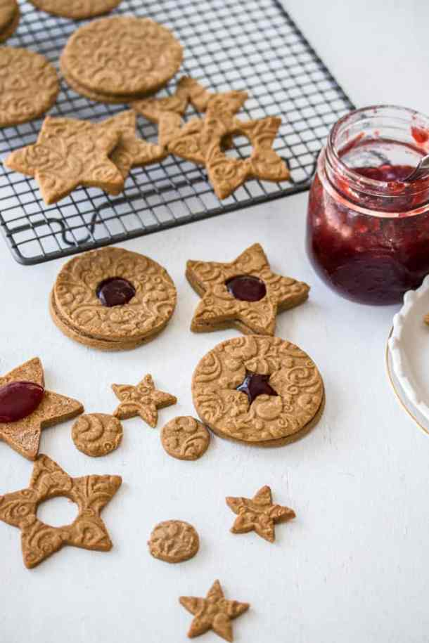 These Jam Filled Speculaas cookies (also known as speculoos cookies) are crunchy, full of warming spices and easy to make. They're sandwiched together with strawberry jam and make the perfect Christmas cookie.