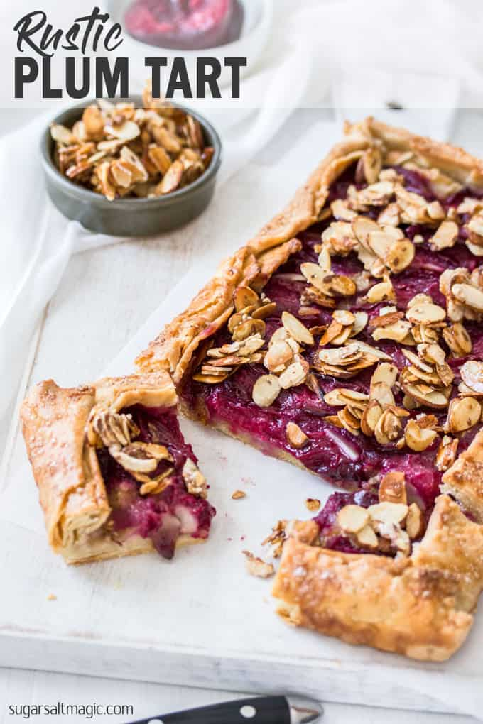 This rustic Almond Plum Tart recipe makes use of gorgeous fresh black plums teamed up with a hidden almond layer, all wrapped in a simple flaky pastry. A gorgeous Summer dessert.