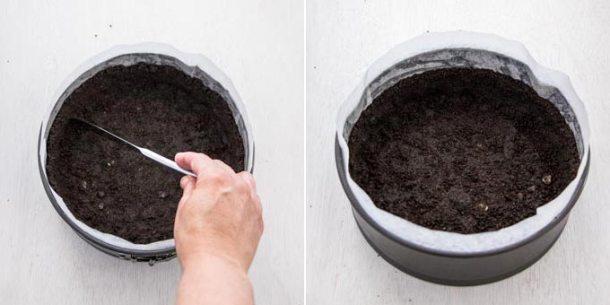 Making a chocolate cheesecake base