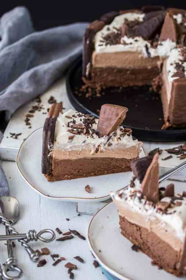 This No Bake Tim Tam Cheesecake is a double chocolate cheesecake inspired by Tim Tams. Layers of milk and dark chocolate cheesecake make this a stunning dessert.