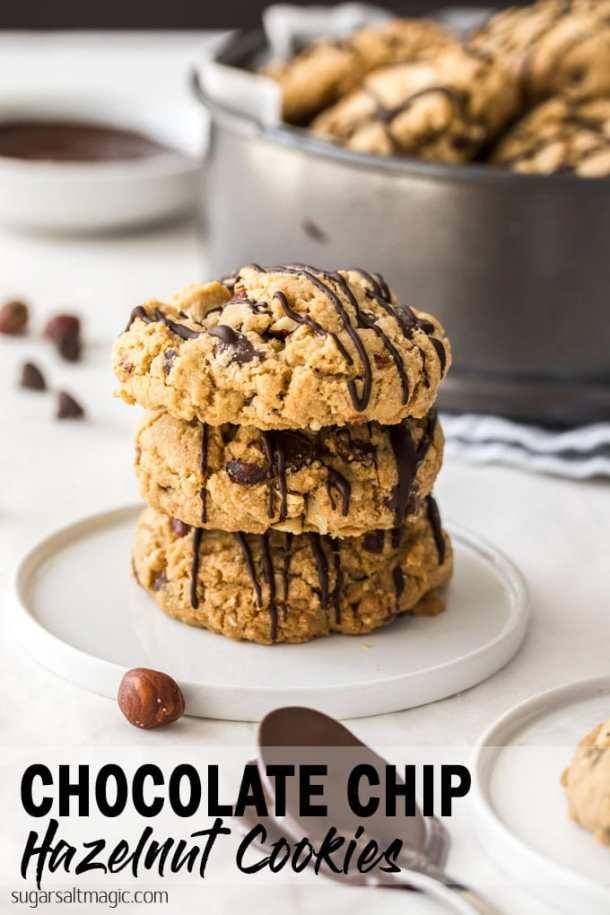 Oats, hazelnuts and chocolate chips combine in these Chocolate Chip Hazelnut Cookies to result in a cookie that's crispy on the outside and chewy in the middle.