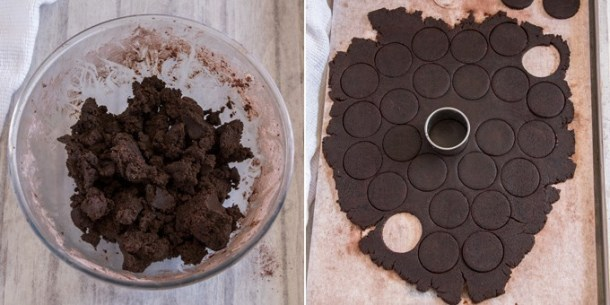 Rolling dark chocolate cookie dough and cutting out circles