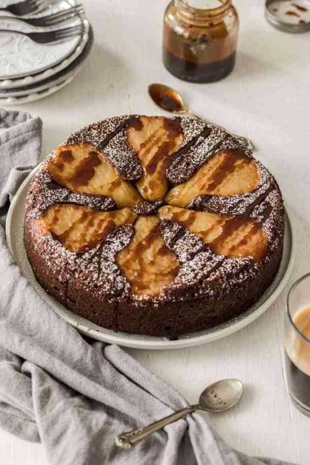 This gorgeous, sweet Chocolate Pear Upside Down Cake is not only surprisingly easy to make, but it's also gluten-free.