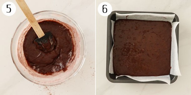 A bowl of chocolate brownie batter then poured into a baking tin.