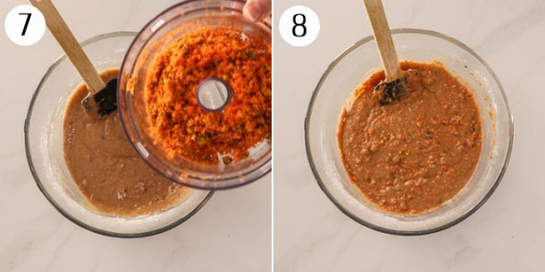 Add carrot and pistachios to muffin batter and mixed.