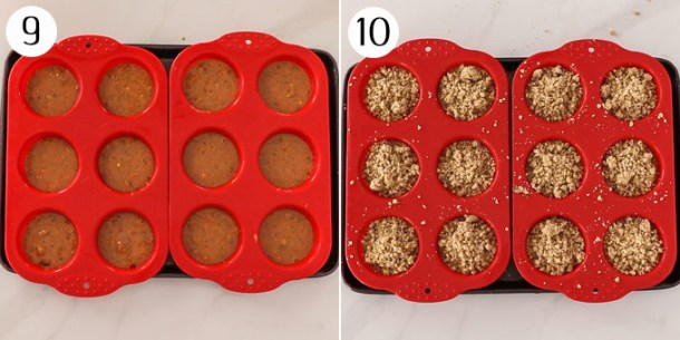 Muffin batter in a muffin tin with streusel topping added