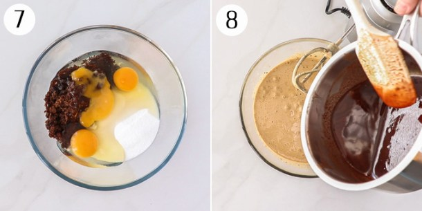 Mixing together brownie batter in a glass bowl