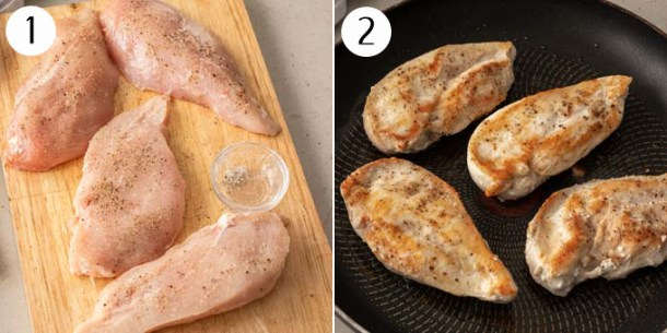Raw chicken breasts on a chopping board seasoned. Then cooked in a pan.
