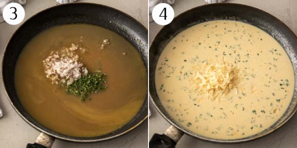 A pan with chicken stock, onions and thyme, then with cream added.