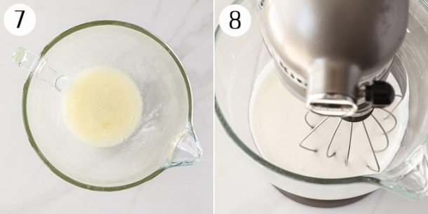 Making a meringue topping in a stand mixer