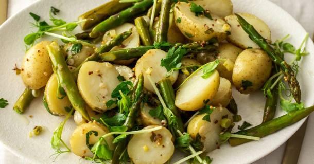 Extreme closeup of potato asparagus salad