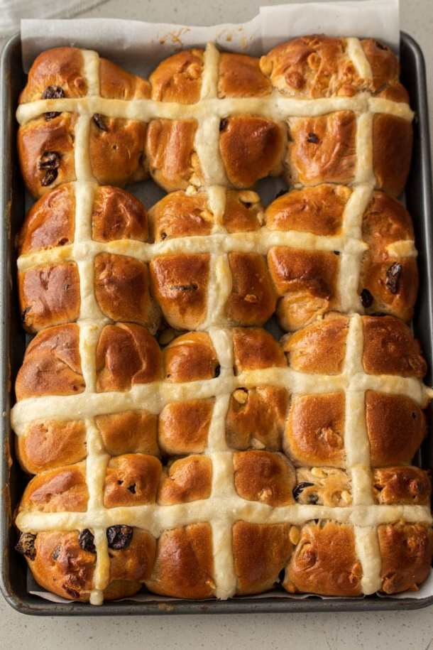 A batch of 12 just baked hot cross buns