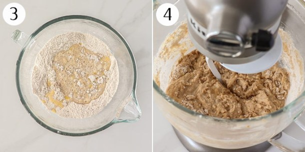 A dough mixture being kneaded in a stand mixer