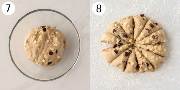 Dough for hot cross buns, cut into 12 pieces