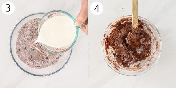 Adding milk to chocolate scone dough and mixing to a dark chocolate dough