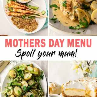 Collage of 4 recipes for a Mothers Day Menu