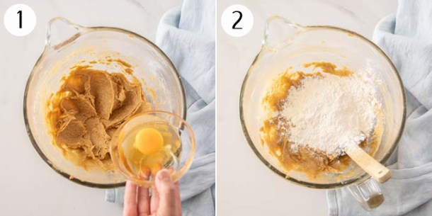 Mixing together butter, sugar and eggs in a white bowl, then adding flour