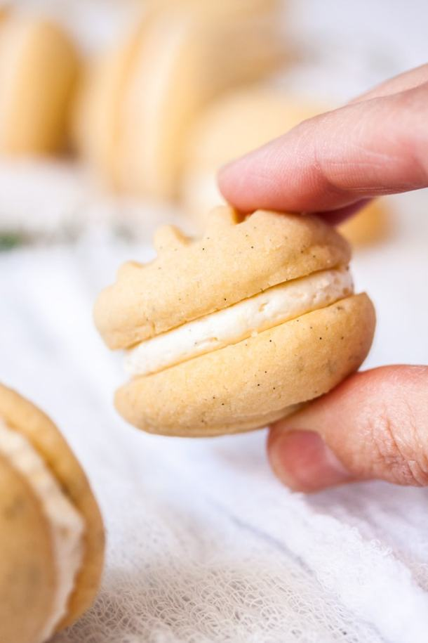 A finger and thumb holding a melting moemnt biscuit
