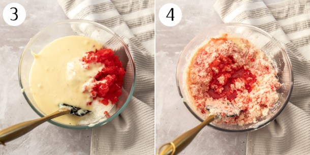 Mixing coconut, maraschino cherries and condensed milk in a glas bowl
