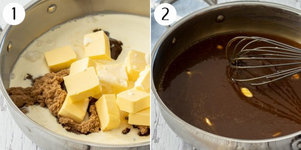 Ingredients for caramel sauce in a steel pan, being melted together