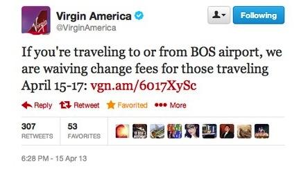 Boston Bombing - Virgin America