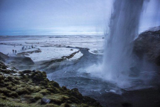 Seljalandsfoss Behind waterfall Iceland Solo Female Travel Roadtrip Winter
