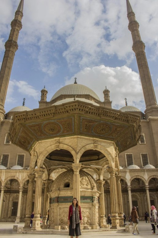 standing facing Mosque of Muhammad Ali Cairo - Travel Talk Tours Solo female travel egypt