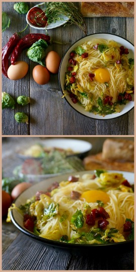 Chorizo & Brussels Sprouts Pasta Carbonara | Suitcase Foodist