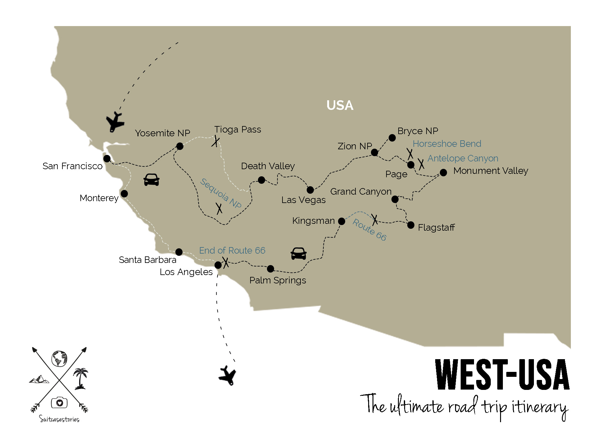 2 weeks West coast USA itinerary Road trip in America Map