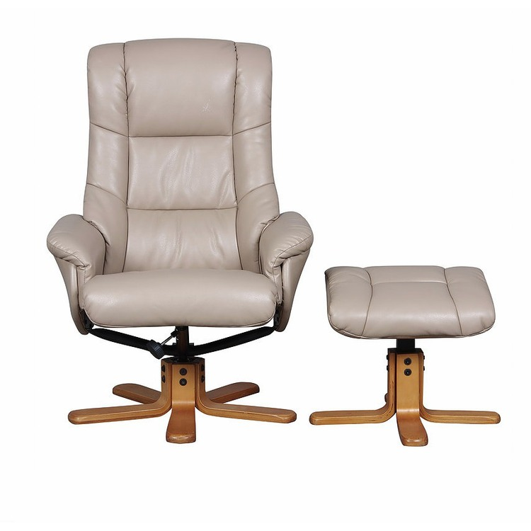 brown leather tub chair with footstool fisher price chairs atlantic recliner swivel