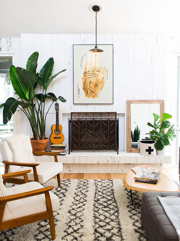 Interior shot of inside the sunny home of Erin Barrett