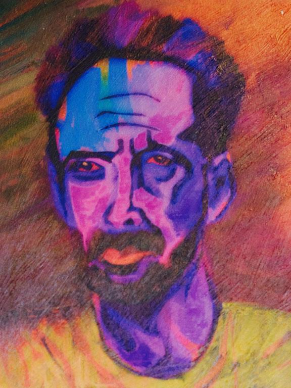 "Portrait titled, ""Rick"" Mixed Media on Pellon"