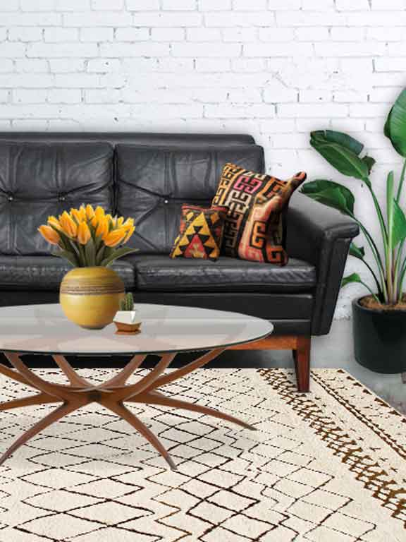 Living Room with leather MCM couch