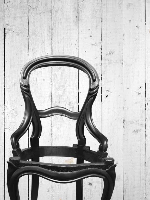 The Balloon Back Chair stained in matte black