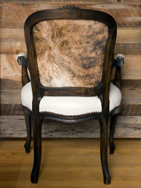 Rear view of Hollis Newton's Russell Chair example of hair-on-hide leather