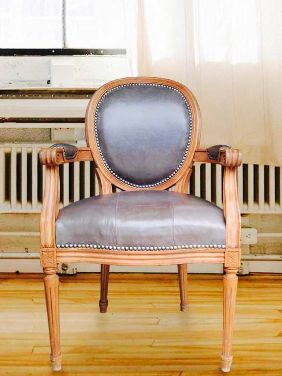 Picture Of Leather Upholstered Antique Chair For Hollis Newton