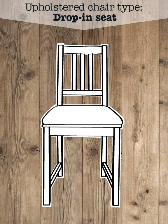 Illustration of upholstered drop-in seat chair