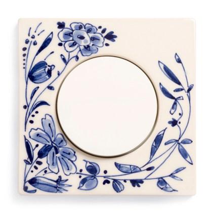 Image: Berker R.3 Handpainted Delft Blue ceramics, single model + Berker R-series light switch