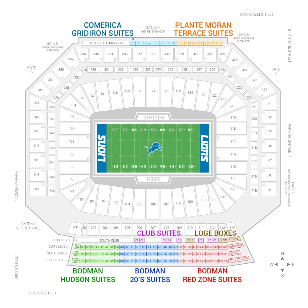 medium resolution of ford field detroit lions suite map and seating chart